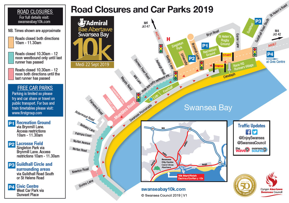 map showing the road closures for the 2019 Admiral Swansea Bay 10k